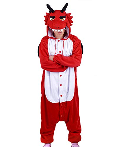 wotogold Pijama de Dragón Rojo Animal Trajes de Cosplay Adultos Unisex with Horn Red