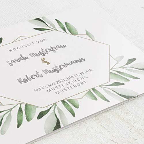 sendmoments Einladungskarten Hochzeit, Grün, 5er Klappkarten-Set C6, personalisiert mit Wunschtext & persönlichen Bildern, wahlweise Gold Veredelung, optional mit passenden Design-Umschlägen