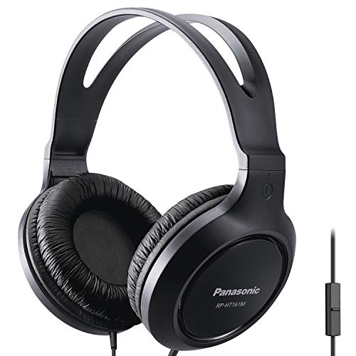 Panasonic Full-Sized Lightweight Over-The-Ear Headphones with Mic and Long Cord - RP-HT161M (Black)