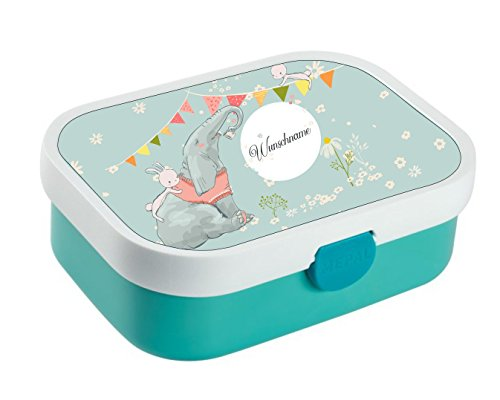 wolga-kreativ Brotdose Lunchbox Bento Box Kinder Elefant Hase mit Namen Rosti Mepal Obsteinsatz für Mädchen Jungen personalisiert Brotbüchse Brotdosen Kindergarten Schule Schultüte füllen