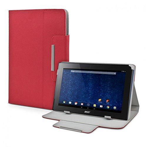 eFabrik Schutz Cover für Acer Iconia Tab 10 A3-A30 (10,1 Zoll) Tasche Hülle Hülle Schutztasche Etui Ständer Funktion Leder-Optik rot