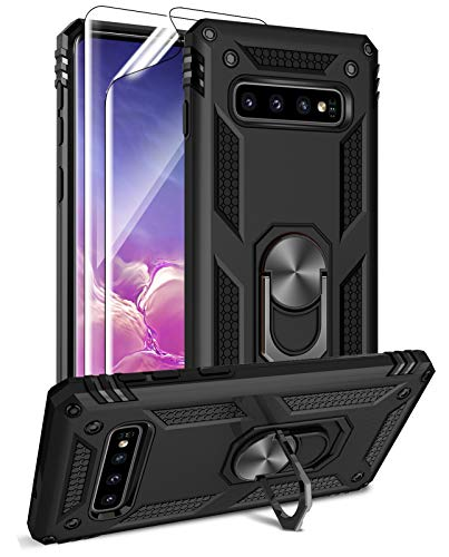 Samsung Galaxy S10 Case with HD Screen Protectors, Androgate Military-Grade Metal Ring Holder Kickstand 15ft Drop Tested Shockproof Cover Case for Samsung Galaxy S10 (2019) Black