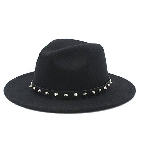 Xuguiping Fedora-hoed met punk-geen band Elegante dame winter Autumn Wide Brim xuguiping (kleur: 1, maat: 57-58cm)