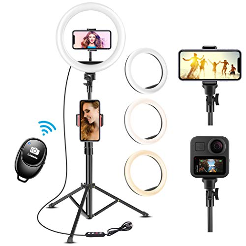 UPhitnis Aro de Luz Aro de Luz con Tripode Aro de Luz para Movil TIK Tok Anillo de Luz con Control Remoto Bluetooth 3 Modos 11 Brillos Regulables para Maquillaje, Selfie, Streaming, Youtube