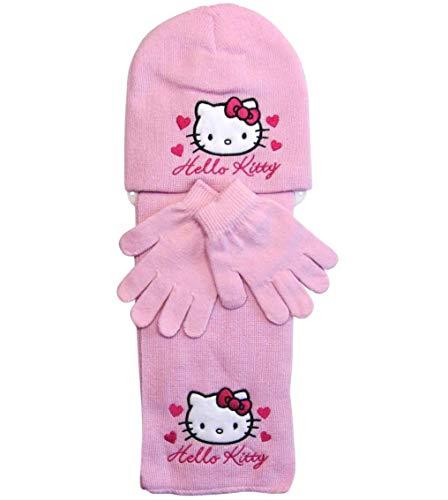 Hello Kitty Mütze Handschuhe und Schal (Rosa, 3-6 Jahre)