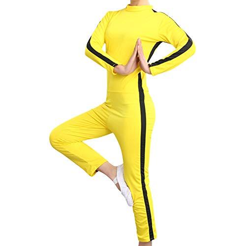Fuyingda Ropa Deportiva Unisex Niños Adultos Artes Marciales Chándales Cosplay - Amarillo Chino Kung Fu Jumpsuit Lucha Película Equipo de película
