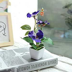 Artificial and Dried Flower Artificial Flower Small Square Pot Blue Silk Flowers Wedding Party Spring Flower Silk Flowers for Home Decoration Decorations – ( Color: Blue Pansy )