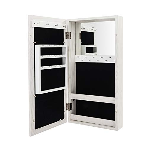 Takefuns Lockable Simple PVC Wood Grain Coating Photo Storage Damp-Proof Mirror Cabinet,Photo Display Frames Jewelry Armoire Wall Mounted, for Home - White