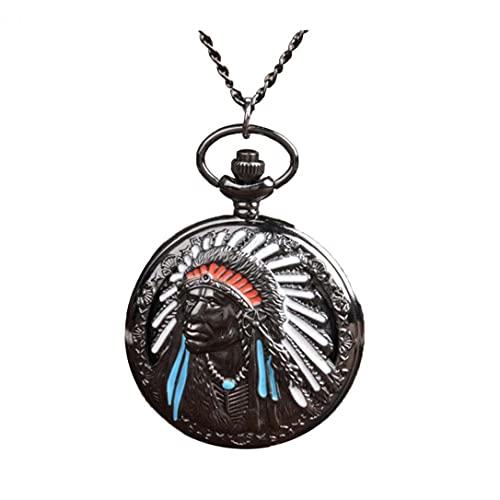 FeelMeet Reloj de Bolsillo analógico Unisex de Cuarzo Reloj de Bolsillo Antiguo Hunter Completa con la Cadena de múltiples Antigua Uso Indio Viejo Retrato Diseño Gris Plata