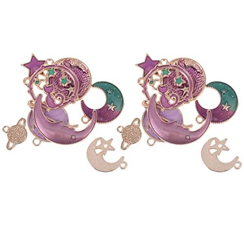 WINOMO Stella della del Pianeta Terra Charms: 2 Set di Fascini della Lega del Pendente per Monili Che Fanno DIY del Braccialetto della Collana Ciondola Il Gancio Orecchino
