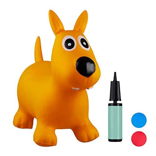 Relaxdays- Saltador Hinchable Perro para Niños hasta 50 Kg sin BPA, Plástico, Color amarillo, 50 x 26 x 60 cm (10024990_48) , color/modelo surtido