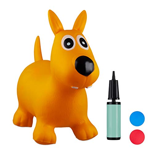 Relaxdays 10024990_48, gelb Hüpftier Hund, inklusive Luftpumpe, Hüpfhund bis 50 kg, Hopser BPA frei, für Kinder, Hüpfspielzeug