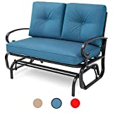 Incbruce Outdoor Swing Glider Rocking Chair Patio Bench for 2 Person, Garden Loveseat Seating Patio Steel Frame Chair Set with Cushion, Peacock Blue
