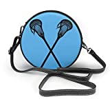 naotaori Bolso redondo mujer Women's Round Vegan Leather Crossbody Messenger Shoulder Bag Crossed Lacrosse Blue Circle Tote Hobo Bag For Women Sling Bag