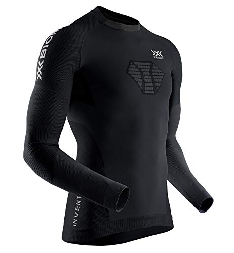 X-Bionic Invent 4.0 Running Shirt Long Sleeves Men, Maglia da Corsa Maniche Lunghe Uomo Training Fitness, Black/Charcoal, S
