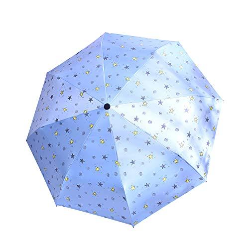 Sytaun Parapluie De Voyage à Double Auvent Coupe-Vent Et Ventilé, Parapluie Pliable Coupe-Vent Imperméable à l eau Et Coupe-Vent Anti UV Mini Parapluie De Voyage Bleu Clair