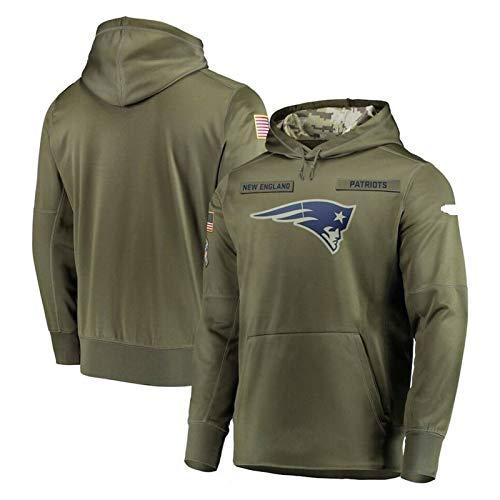 Xyy NFL Jersey Hoodie -Patriot - hohe Qualität Armee grün Bestickt Sweatshirt, American-Football-Trikot NFL Hoodie (Color : Man, Size : 2XL)