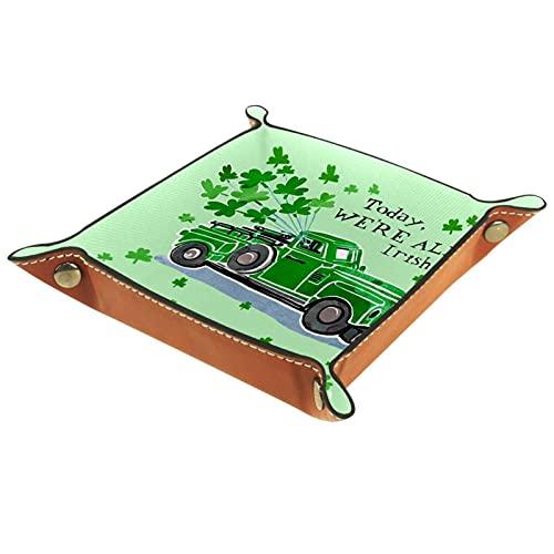 Caja de almacenamiento multiusos con bandeja valet de cuero Organizador de bandejas Se utiliza para almacenar pequeños accesorios.,coche verde