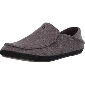 OluKai Moloa Hulu Men's Wool-Blend Slippers, Soft & Heathered Knit Slip On Shoes, Suede Leather Foxing for Maximum Comfort, Drop-In Heel Design