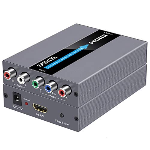 EASYCEL Component to HDMI Converter with Scaler Function, 1080P Aluminum RGB to HDMI Converter, 5RCA YPbPr to HDMI Converter for Denon Legacy DVD, Bose 3-2-1