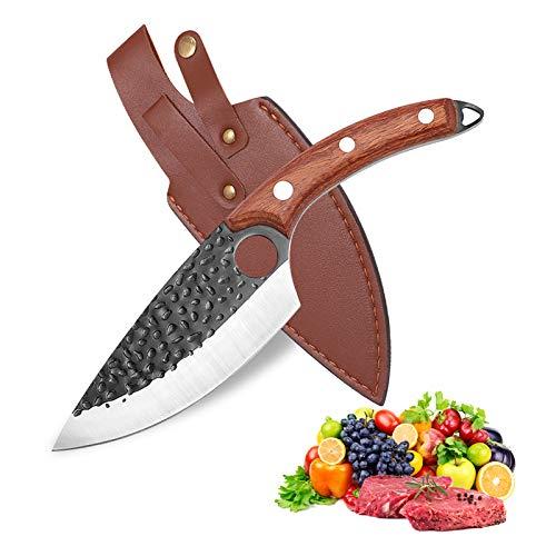 Qijieda Kochmesser Küchenmesser Hackmesser mit Lederscheide - Professionell Handgeschmiedet Ausbeinmesser, Kochmesser Profi Messer zur Verarbeitung von Gemüse und Fleisch (Brauner Holzgriff)