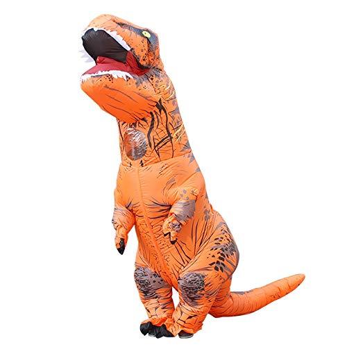 FURONGSHU Halloween Horror sieraden WSJLL opblaasbaar dinosaurus kostuum voor volwassenen Halloween opgeblazen draak kostuum partij carnaval kostuum voor dames heren (oranje)