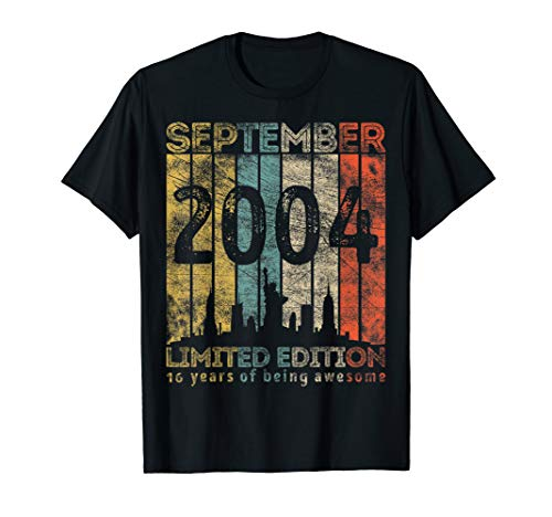 Vintage September 2004 Designs 16 Years Old 16th Birthday T-Shirt