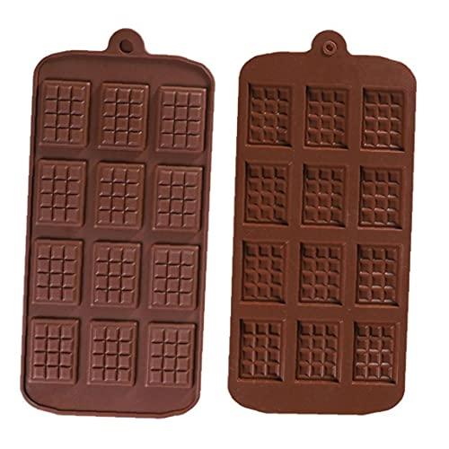 Molde del Chocolate de 12 Cavidad del Chocolate DIY silicón de la Bandeja para Hornear la Pasta de azúcar del Molde 2 Piezas de Herramientas