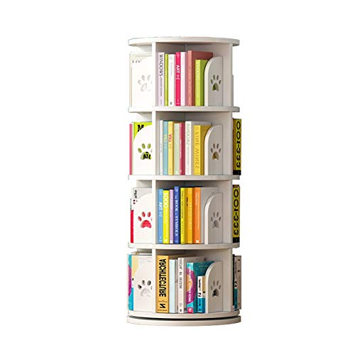 Bibliothèque Rotatation 360-Degré Rood-Plafond Space-Sauvetage Picture d'enfants Rack Simple Accueil Student Storage Rack FANJIANI (Color : White, Size : 39 * 128cm)