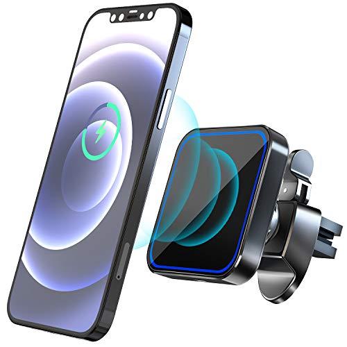 Hoidokly Caricatore Wireless Auto Magnetico 15W Ricarica Rapido Wireless Supporto Telefono da Auto Con Clip QI Caricabatterie per iPhone 12/12 Pro/ 12 Mini/ 12 Pro Max - Noir