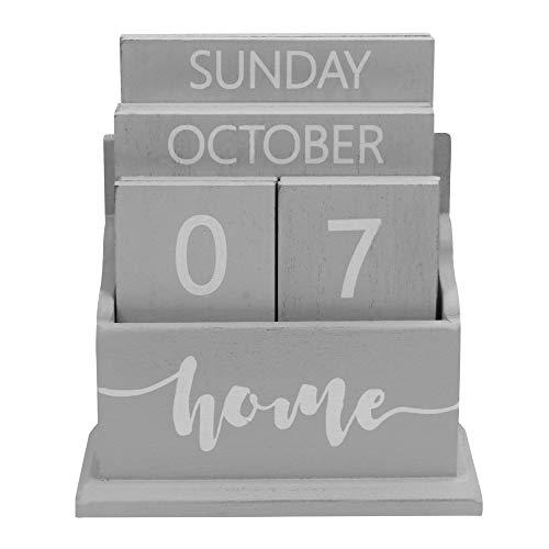 Wooden Vintage Perpetual Calendar | Stylish Eternal Desk Calendar | Lift 'n' Flip Block Design | Perfect for Home or Office | M&W (Grey)