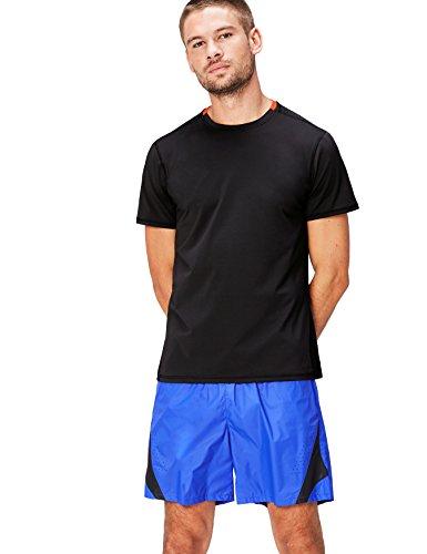 Activewear Contrast Collar, Top Deportivo para Hombre, Negro (Black), Large