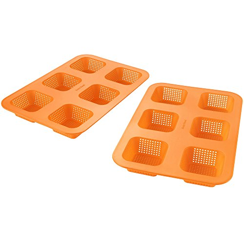 Betty Bossi 24847 forma do pieczenia mini bułek, zestaw 2 szt., 25 x 17 x 3 cm, pomarańczowa