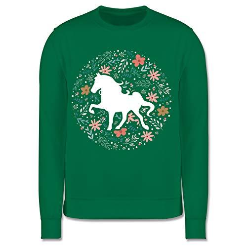 Shirtracer Tiermotive Kind - Pferd mit Blumen - 104 (3/4 Jahre) - Grün - Kinder Pullover für mädchen 128 mit pferden - JH030K - Kinder Pullover
