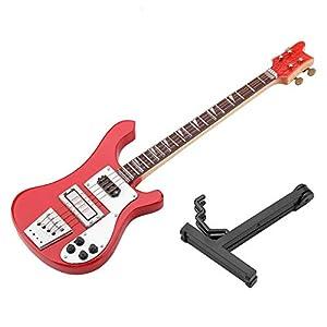 Wosume Bajo eléctrico, réplica de Guitarra Cortada en Miniatura Negra de 7 Pulgadas con Estuche Instrumento Modelo Adornos Navidad coleccionables Regalo: Amazon.es: Hogar