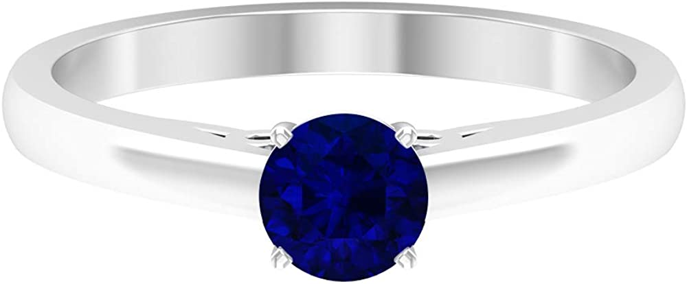 Gold Engagement Ring, 5 MM Lab Created Blue Sapphire Ring, Simple Promise Ring (AAAA Quality), 14K Gold