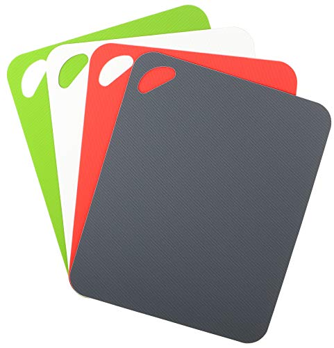 Dexas Heavy Duty Grippmat Flexible Cutting Board Set of Four, 11.5 by 14 inches, Gray, Red, White and Green