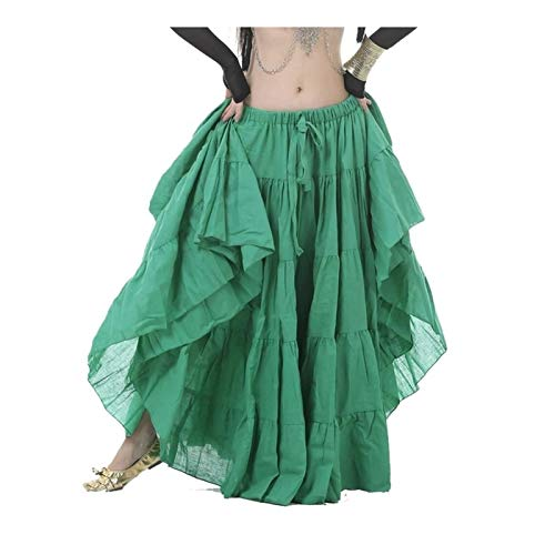 TFF Danza del Vientre Faldas Tribales De La Gasa Vestido De Baile De La Gasa For Las Mujeres Entrenamiento Ropa Big Swing Falda Bellydance Outfit (Color : Medium Green, Size : M)