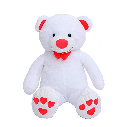 Red Teddy Bear 5 Feet, Millffy 59 Tall 5 Feet Red Giant Plush Teddy Bear With Heart Paws And Smiling Tongue White 59 Tall 5 Feet 150cm Wantitall