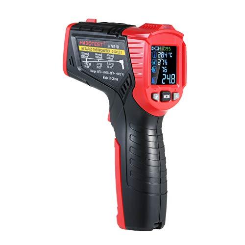 KKmoon Infrarot-Thermometer -50~800℃ Präzisions-Hochtemperaturthermometer Luftfeuchtigkeit Taupunkt-Temperaturmesser mit K-Thermoelement Anti-Schimmel-Alarm Einstellbares UV-Lecksuchlicht