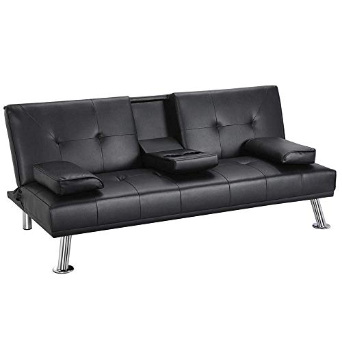 Yaheetech Futon Sofa Bed, Modern Faux Leather Couch, Convertible Sofa Bed with Armrest, Fold Up and Down Recliner Couch with Cup Holders - Black (Renewed)