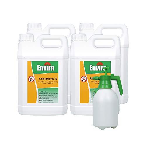 Envira Ameisen-Spray - Anti-Ameisen-Mittel Mit Langzeitwirkung - Geruchlos & Auf Wasserbasis 4x5Ltr+2Ltr Sprüher