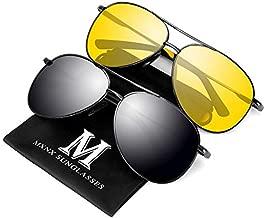 Aviator Sunglasses for Men Polarized Women -MXNX UV Protection Lightweight Driving Fishing Sports Mens Sunglasses MX208 (Gun+Night Vision)
