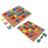 SM SunniMix 2 Juegos de Rompecabezas de Madera, Tablero de Agarre Manual, Bloques Gruesos, Juguete Educativo para Bebés