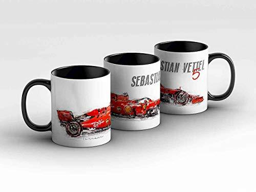 gasoline.gallery Formel 1 Tasse - Sebastian Vettel - Scuderia Ferrari Mission Winnow - Silhouette schwarz Kaffeebecher