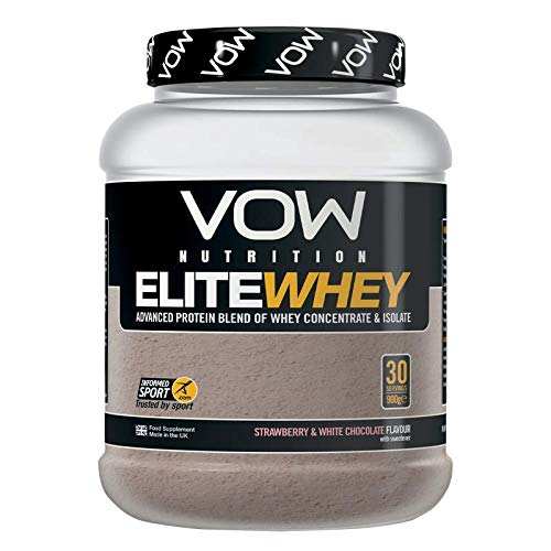 VOW Nutrition Elite Whey Protein 900g Whey Isolate, Whey Concentrate 30 Servings, Quality Protein with Naturally Occurring BCAAs and Glutamine, Informed Sports Approved (Strawberry)
