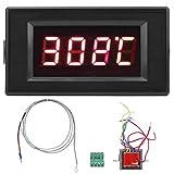 SALUTUYA Medidor de Temperatura Digital Industrial con Pantalla Digital DYG-5135 con Fuente de alimentación AC12V con Sensor de Temperatura de termopar Tipo K para calderas