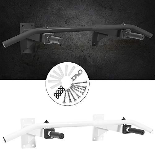 GORILLA SPORTS® Klimmzugstange zur Wandmontage Stahl Schwarz/Weiß – Pull Up Bar Wand mit Multigriff max. Belastbarkeit bis 350 kg