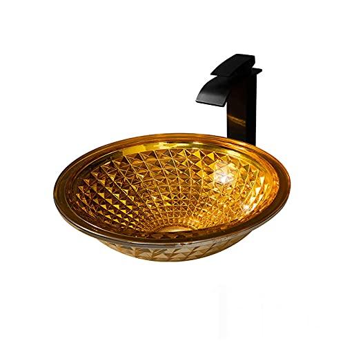 Lujoso Naranja Lavabo de Cristal, Lavabo de Vidrio Sombrero Redondo Lavabo sobre Instalación en Encimera Lavabo sobre para Baño, 415mm*415mm*140mm,Sink with Faucet