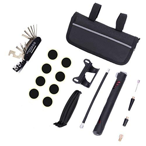 Bolsa de reparación para bicicleta, set de herramientas de reparación de bicicletas 16 en 1 Kits de mantenimiento de bicicleta, herramientas fijas con bolsa de mini bomba de neumáticos parche inflador de barra de corona divisor de cadena para camping al aire libre hogar esencial